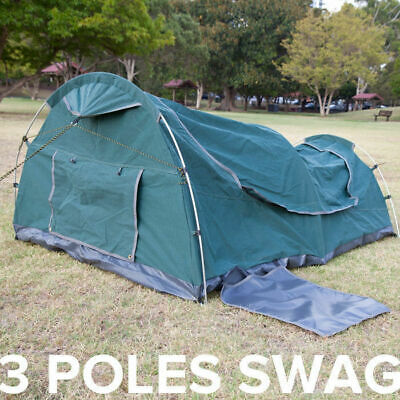 Double Swag Dome Tent with Aluminium Poles for Camping Fishing Canvas Hoop