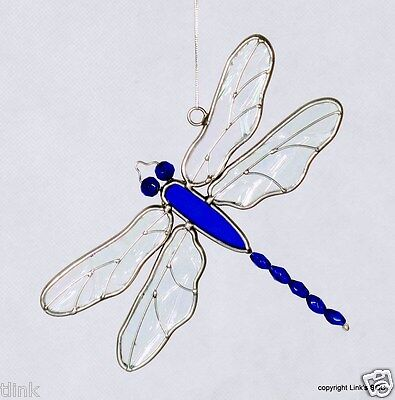 Stained Glass Dragonfly Blue Beaded SunCatcher