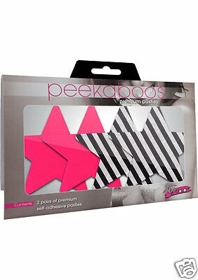 Peekaboo Pasties DOUBLE VISION STARS Pink & Black White Stripe 2 Pair
