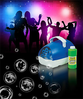 Cheetah Quality Portable Party & DJ Battery Operated Bubble Machine Blue + Fluid