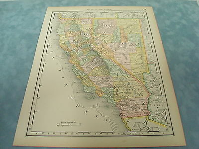 Rare 1888 Antique Map Of California And Nevada