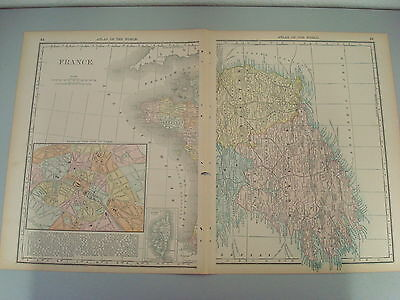 RARE 1888 ANTIQUE MAP OF FRANCE