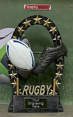 Gold Rugby Trophy + FREE Engraving + FREE P&P