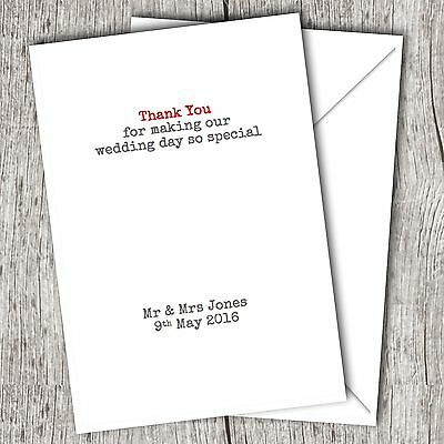 Personalised WEDDING Thank You Cards • Fast Post • Any Colour  • Folded