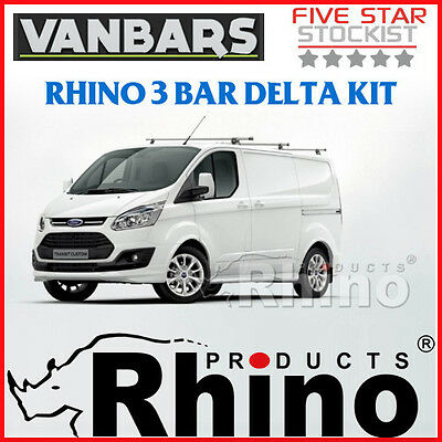 Genuine Rhino Ford Transit Custom 3 Bar Delta Roof Rack Kit - TB3D-B63