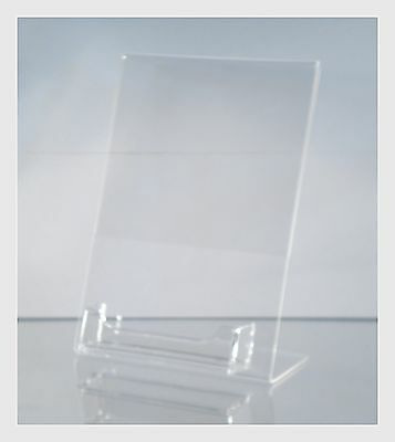 "10 Acrylic 5"" x 7"" Slanted Picture Frame Holders with Business Card Holder"