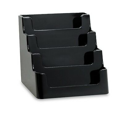 """4-Pocket Black Acrylic """"deflect-o"""" Style Counter-Top Business Card Holder"""