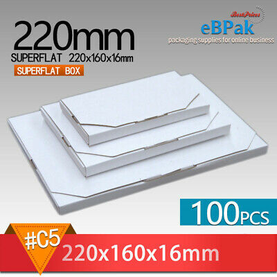 100 #02 SuperFlat 220x160x16mm Large Letter Size Mailing Box A5 Rigid Envelope
