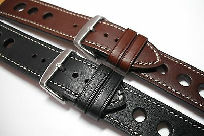 Leather Rally watch strap natural stitching. Superb quality. 20, 22 or 24mm