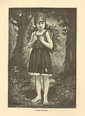 Barefoot Child Firewood Rustic Forest Vintage 1892 Original, Antique Art Print,
