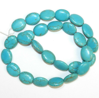 13x18mm Green Turquoise Oval Gemstone Loose Beads 15''