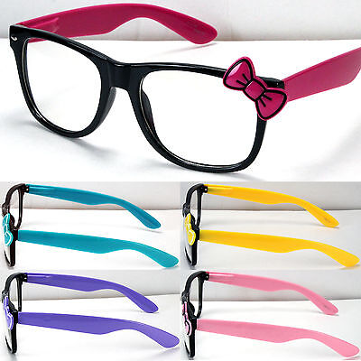 New Womens Girl Clear Lens Frame Eye Glasses Bow Bowknot Hello Kitty Style Party