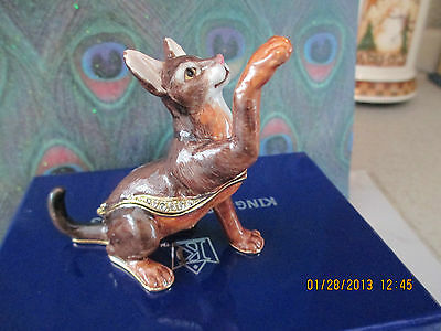 Zulu  The Abyssinian Cat~ Jeweled Trinket Box & Matching Necklace  # 62651