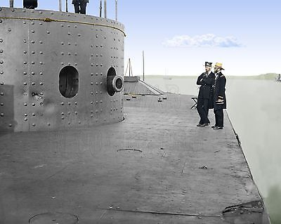 Monitor Navy Union Ship Ironclad James River Color Tinted photo Civil War 00305