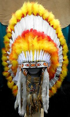"Genuine Native American Navajo Indian Headdress 36"" ""SUNBURST"" Yellow Orange Red"