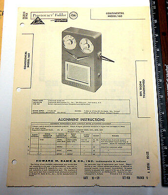 Continental Transistor Radio Model 160 Manual Sams Photofact Folder 1959