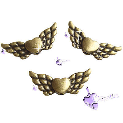 5 PERLE distanziatori CUORE con ALI 22x9mm col BRONZO heart wings spacer beads