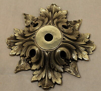 Antique Ornate Ceiling Canopy Bronze, Solid Brass Achantus Leaves