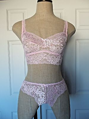 Cosabella LUCKY Barely Pink Lace Cropped Camisole Bra M & Low Rider Thong M/L