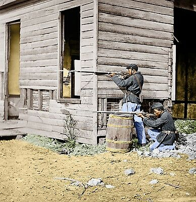 USCT African American Troop Riffle Musket Color Tinted photo Civil War 01930