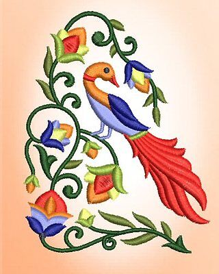 Dutch Floral Birds Machine EMbroidery Design CD 4x4 for Brother, Janome, etc