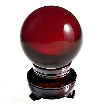 Crystal Ball Sphere 60mm 2.3-inch Red (Ruby) with Wood Stand and Gift Box