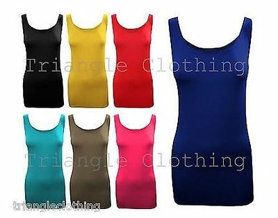 Ladies Womens Plain Viscose Vest Tops T Shirt Basic Stretch Long Round Neck Tee