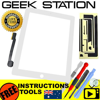 for Apple the new iPad 3 4 Digitizer Touch Screen Replacement glass white