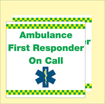 Ambulance First Responder on Call (Vehicle Magnetic Signs). X 2. Size 300x300mm