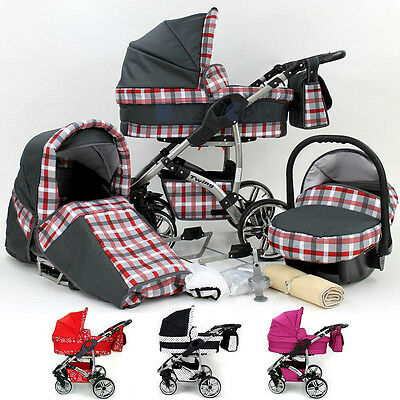 Baby Travel System - Swivel Wheels Pram - Pushchair - Buggy + Car Seat 3in1