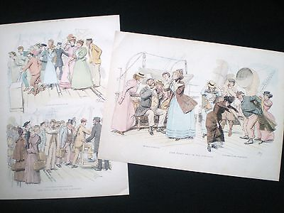 2 OLD PRINTS - JOHN BULL / SKETCHES ON A VICTORIAN SHIP LINER FERRY BOAT c1890