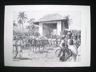 Old Print Emin Pasha Relief Expedition Arthur J M Jephson River Nile Africa 1890