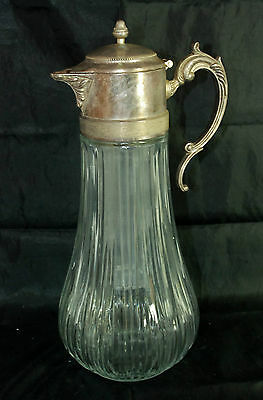 Vintage Silver Plated Heavy Glass Large Pitcher with Chiller UNPOLISHED Italy