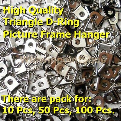 Triangle D-Ring Picture Frame Strap Hanger Silver Nickel Color Free For Screws
