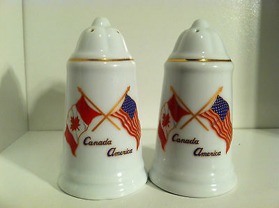 Vintage Commemorative Canada America With Flags Salt & Pepper Shakers
