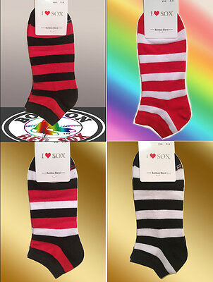 10 Pairs Ladies Organic Cotton & Bamboo Fibre (Colour Stripes)Ankle Socks