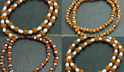 Rudraksh Necklace With Pearl Fancy Golden & Silver Bead Hindu Energised Yoga Om