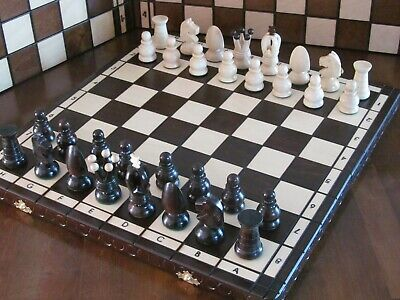 Brand New ♜ Hand Crafted Royal  Wooden Chess Set 44cm x 44cm ♛