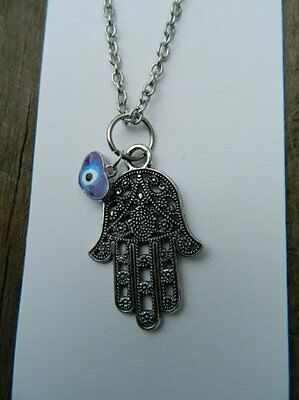 Large Hamsa Hand Evil Eye Protection Necklace