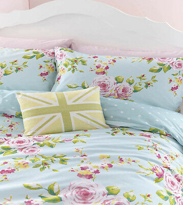 Duck Egg Pink & Blue Floral (or Spots) Reversible Girls Bedding or Curtains
