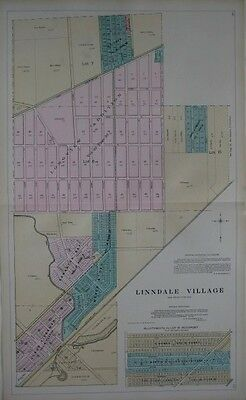 Original 1903 Plat Map LINNDALE CLEVELAND Electric Railway Cuyahoga County Ohio