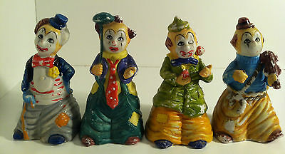 Lot Of 4 Vintage Rare Jsny Clown Bell Figurines