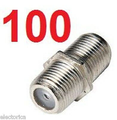 100 X F Connector Female Rg6 Rg59 Coupler Coaxial Cable F81 Joiner Satellite