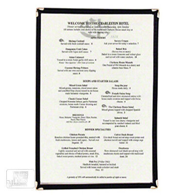 Menu Cover Single Clear with Black Binding Plastic NEW!