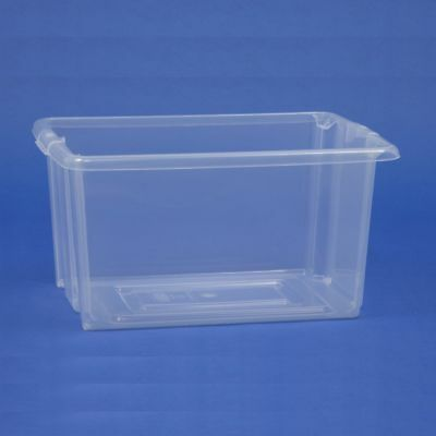 Clear See Through Plastic Stacking Shelf Storage Bins Boxes 29 x 20 x 15cm