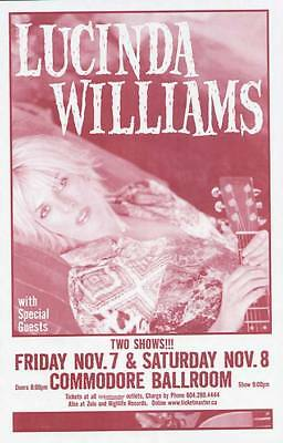 LUCINDA WILLIAMS VANCOUVER CONCERT POSTER 2003