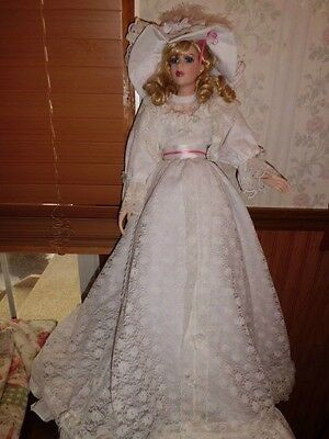 """Seymour Mann Crystal 29"""" tall porcelain doll w/stand """"Rare"""" Excellent condition"""