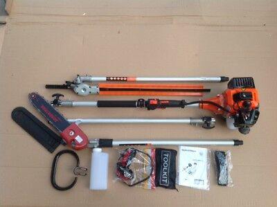 LONG REACH Petrol Chainsaw Pruner & Hedge Trimmer & Ext. UP TO 3 METRES 9S
