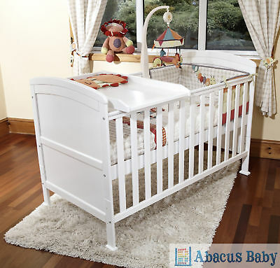 New Baby White Penelope Luxury Cot Bed-Safety Foam Mattress-Cot Top Changer