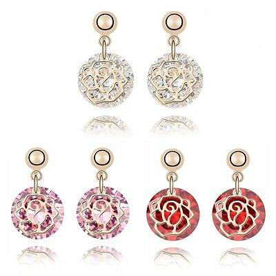 18K Gold Plated Made With Swarovski Crystal Round Cut Rose Stud Earrings